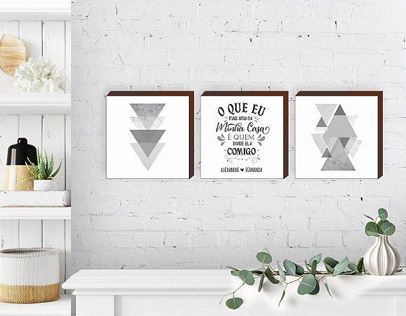 Trio de quadros Geométricos + O que eu mais amo na minha casa - quadrado [BoxMadeira]