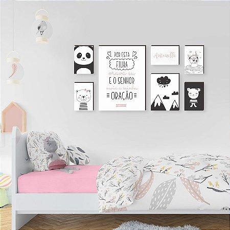 Quadros Kit Infantil Ursos + Frase+ Nome [BOX DE MADEIRA]
