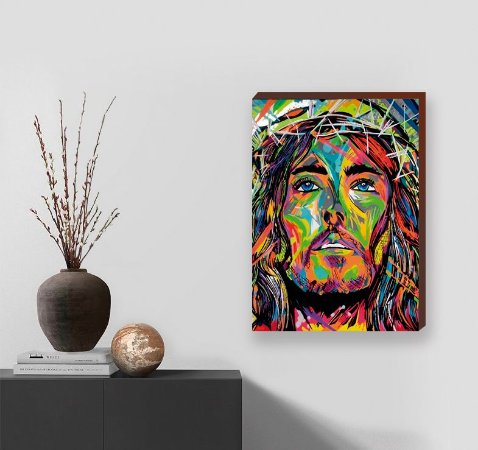 Quadro decorativo Pintura Cristo - Colorido  [BoxMadeira]