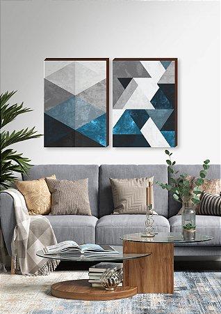 Dupla de quadros Geométricos Texturizado azul, preto e cinza [boxdemadeira]
