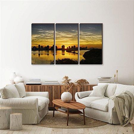 Trio de quadros Paisagem Itajaí Mod. 04 - Entardecer na Baia Afonso Wippel [BoxMadeira]