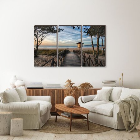 Trio de quadros Paisagem Itajaí Mod. 14 - Amanhecer Praia Brava [BoxMadeira]