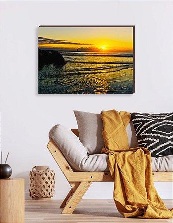 Quadro decorativo Paisagem Itajaí Mod.15- Amanhecer Praia do Atalaia  [BoxMadeira]