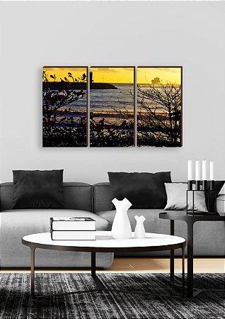 Trio de quadros Paisagem Itajaí Mod. 19 - Praia do Atalaia [BoxMadeira]