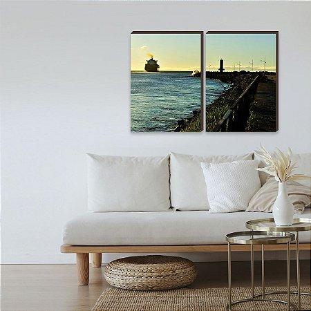 Dupla de quadros Paisagem Itajaí Mod. 08- Molhe e navio [boxdemadeira]