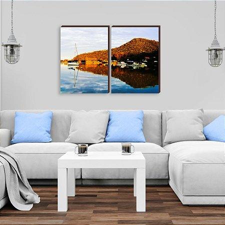 Dupla de quadros Paisagem Itajaí Mod. 20- Baía Affonso Wippel Barcos de pesca  [boxdemadeira]