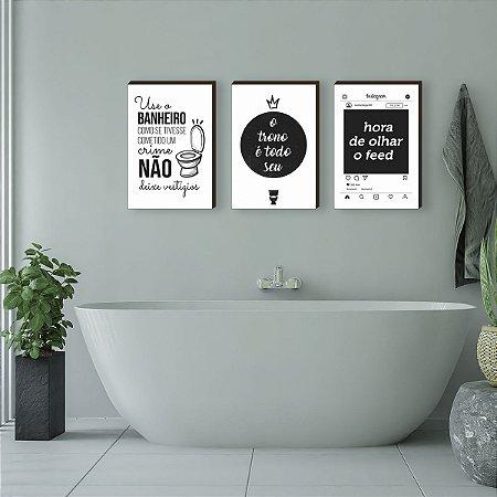 Trio de quadros Banheiro + frases fundo branco [BoxMadeira]