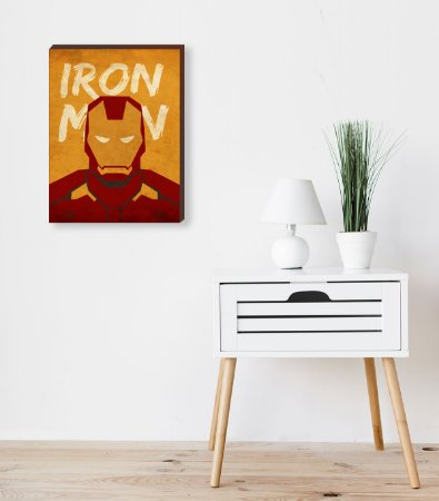 Quadro Homem de Ferro VIntage- Marvel [BoxMadeira]