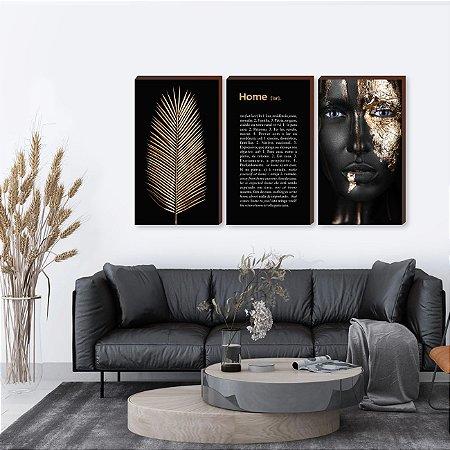 Trio de quadros Home+ Folha+ Mulher - Preto e dourado [BoxMadeira]
