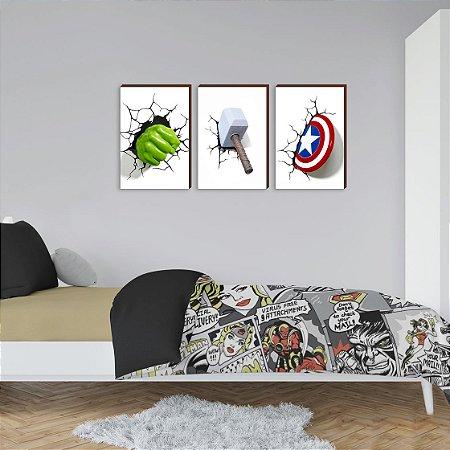 Quadros Trio Infantil Heróis - Hulk, Thor e Capitão América [BOX DE MADEIRA]