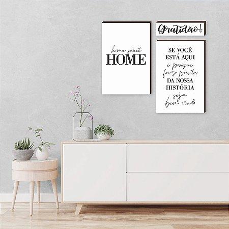 Kit de quadros home sweet home+ Gratidão+ Se você está aqui - branco [BOX DE MADEIRA]