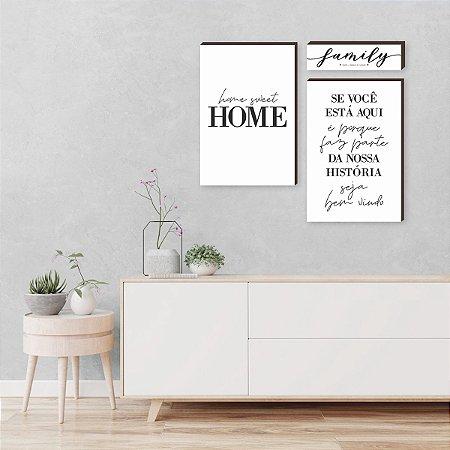 Kit de quadros home sweet home+ Family+ Se você está aqui - branco [BOX DE MADEIRA]