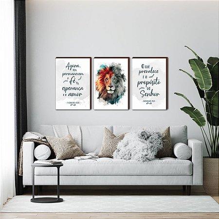 Trio de quadros Leão pincelada + Agora pois permanecem a fé + O que prevalece... - Azul [BOX DE MADEIRA]
