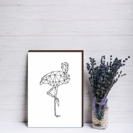 Quadro decorativo Flamingo geométrico [Box de Madeira]