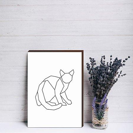 Quadro decorativo Gato geométrico [Box de Madeira]