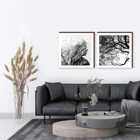 Dupla de quadros Mulher e pássaros + Galhos - Branco [Box de madeira]