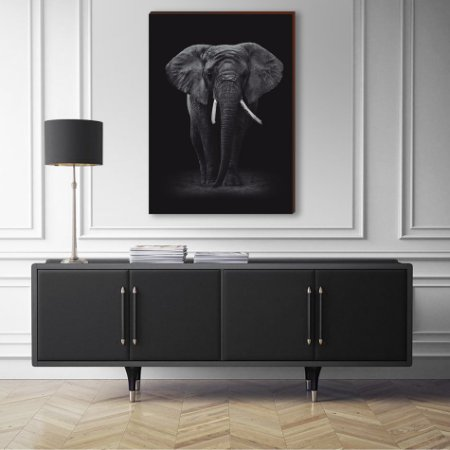 Quadro decorativo Animais Selvagens Elefante - fundo preto [BoxMadeira]