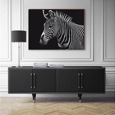 Quadro decorativo Animais Selvagens Zebra - fundo preto [BoxMadeira]
