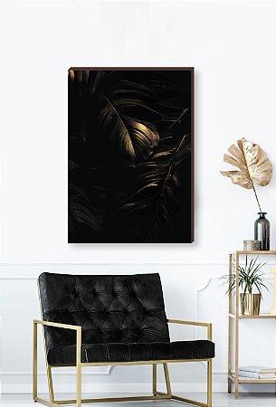 Quadro decorativo Costela de Adão dourada - Fundo preto Mod.01  [BoxMadeira]