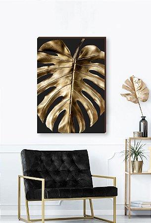 Quadro decorativo Costela de Adão dourada - Fundo preto Mod.03  [BoxMadeira]