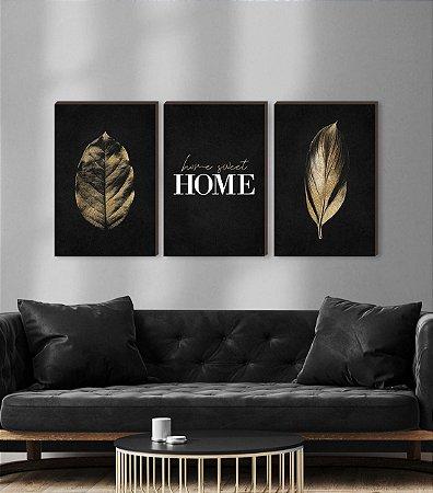 Quadros Trio Folhas douradas + Home Sweet Home  [BOX DE MADEIRA]