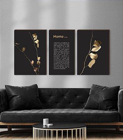 Quadros Trio Galhos dourados + Home  [BOX DE MADEIRA]