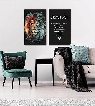 Dupla de quadros Leão pincelada + Gratidão [boxdemadeira]
