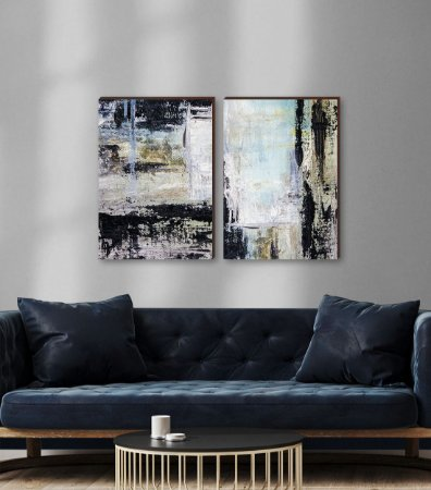 Dupla de quadros Pintura Abstrata [boxdemadeira]