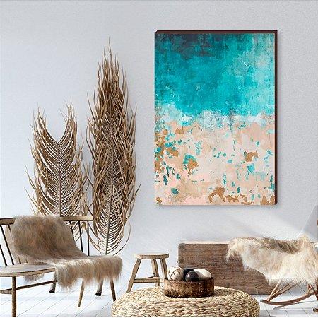 Quadro decorativo Abstrato azul e bege mod.02 [box de Madeira]