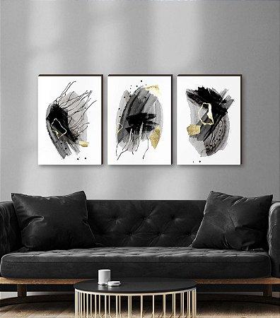 Quadros Trio Abstrato aquarela Preto e dourado [BOX DE MADEIRA]