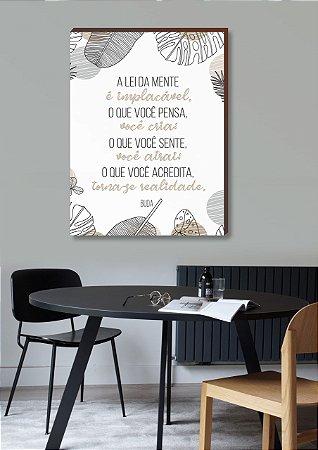 Quadro decorativo A lei da mente - Frase Buda Mod.03 [Box de Madeira]