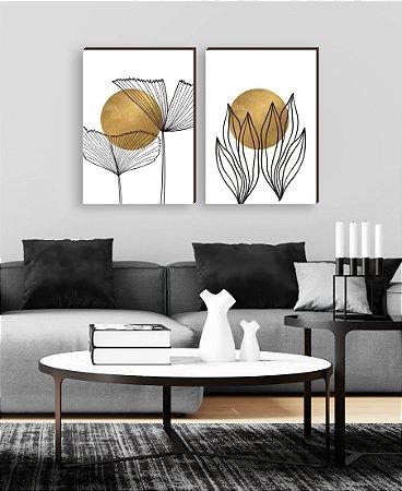 Dupla de quadros Folhas Branco e Dourado [boxdemadeira]
