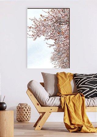 Quadro decorativo Árvore com flores rosa e folhas laranja [BoxMadeira]