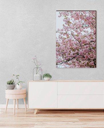 Quadro decorativo Árvore com flores rosa e folhas verdes [BoxMadeira]