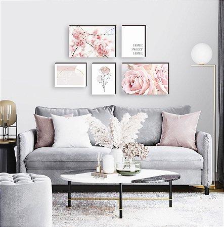 Kit de quadros Home Primavera Rosa [BoxMadeira]