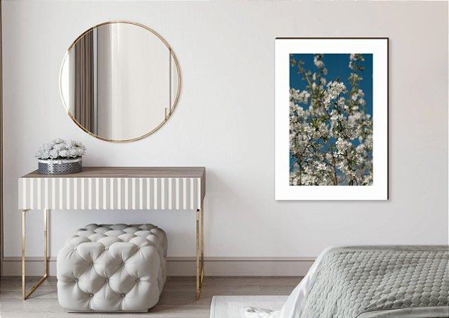 Quadro decorativo Árvore cerejeira branca e céu azul [BoxMadeira]