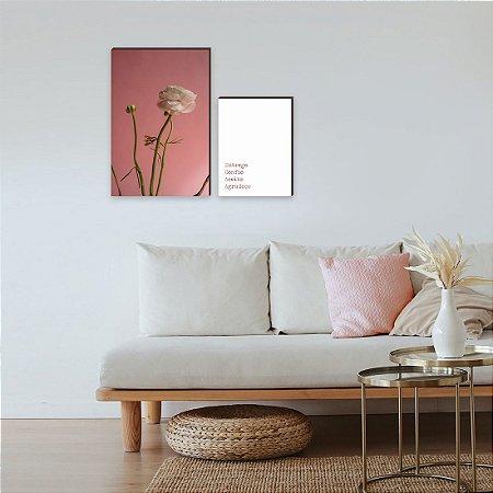 Dupla de quadros Flor Rosa + Entrego, confio, aceito, agradeço [boxdemadeira]