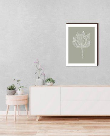 Quadro decorativo Folha Mod.01 - Fundo verde [BoxMadeira]