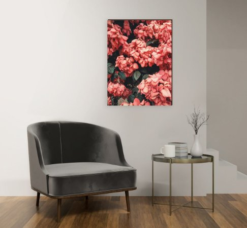 Quadro decorativo Flor Hydrangea Vermelha [BoxMadeira]