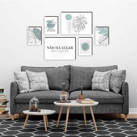 Kit de quadros Não há lugar + Orgânicos Verde e Cinza [Box de Madeira]