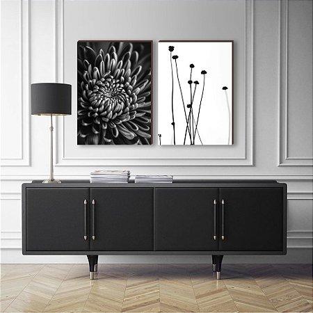 Dupla de quadros Flor Preto e Branco [boxdemadeira]
