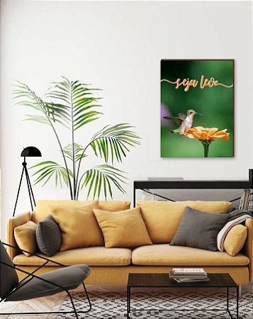 Quadro decorativo Beija-flor e Seja leve [BoxMadeira]