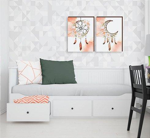 Dupla de quadros Filtro dos Sonhos + Lua [boxdemadeira]