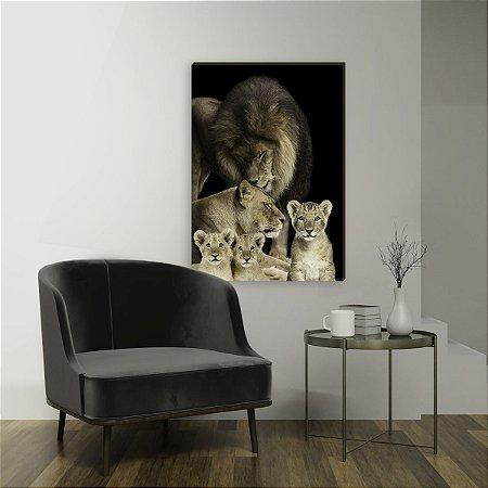 Quadro decorativo Leão Família - Com 3 filhotes [BoxMadeira]