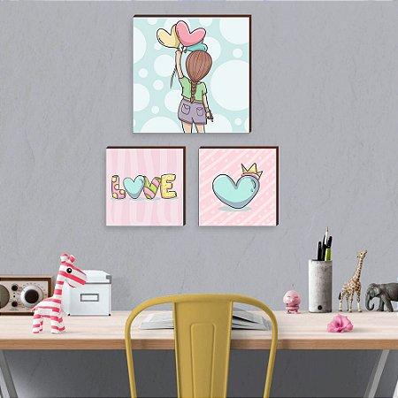 Kit de Quadros infantil Love + Coração + Girl [BoxMadeira]