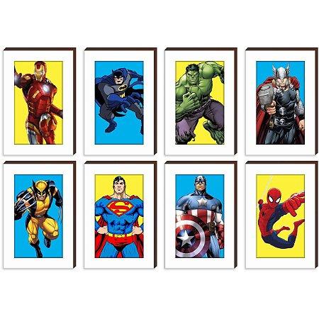 """Kit Super Heróis Reais - Homem de Ferro, Batman, Hulk, Thor, Wolverine, Superman, Capitão América, Homem Aranha [BoxMadeira]"""""""