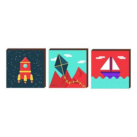 Trio Foguete + Pipa + Barco [BoxMadeira]