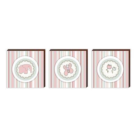 Trio de quadros infantil Menina Rosa [BoxMadeira]