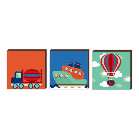 Trio de quadros decorativos infantil Caminhão + Navio + Balão [BoxMadeira]