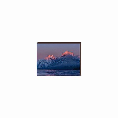 Quadro Montanhas com Gelo Rosê [BOX DE MADEIRA]